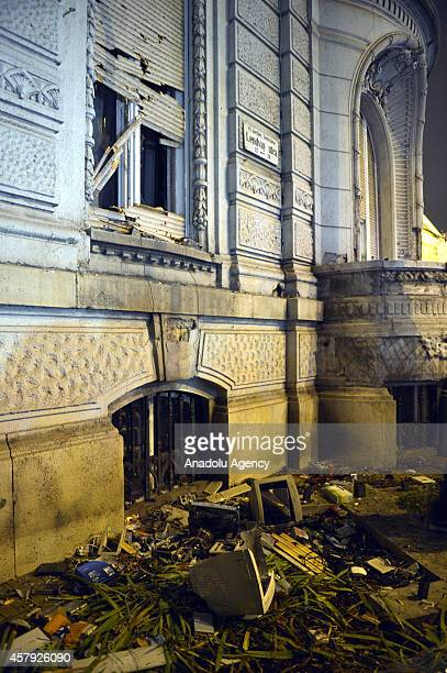 Hungarian protestors throw monitor at the headquarters of the governor of the FIDESZ party in Budapest on October 26 2014 Hundreds of Hungarian...