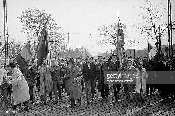 Hungarian revolution of 1956 Hungarian citizens demonstrating in the streets of the capital Budapest 29th October 1956