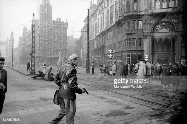 Hungarian revolution of 1956 Rebels and citizens in the streets of the city Budapest 29th October 1956