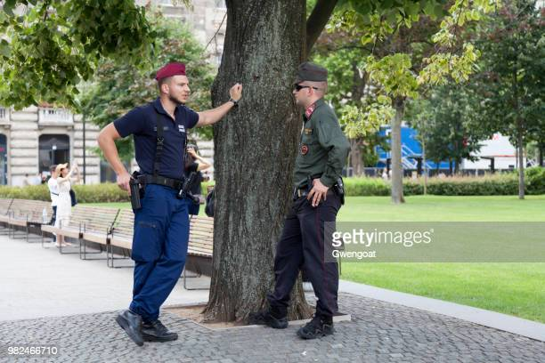 hungarian riot policeman and soldier - gwengoat stock pictures, royalty-free photos & images