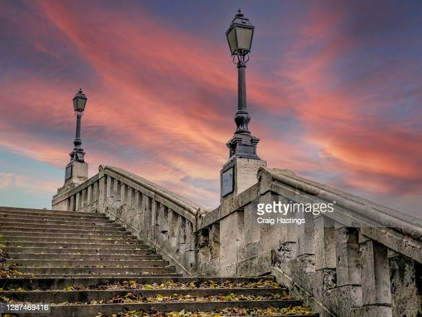 hungarian royal palace staircase steps at dusk in budapest - budapest stock pictures, royalty-free photos & images