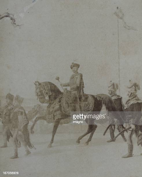 Hungarian scene with horseman. About 1880. Repro photograph based on a drawing. Ungarische Szene mit Reiter. Um 1880. Reprophotographie nach...