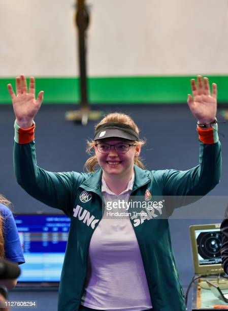 Hungarian shooter Veronika Major celebrates after winning the women's gold in the 10 meter air pistol women at ISSF world cup at Karni Singh Shooting...