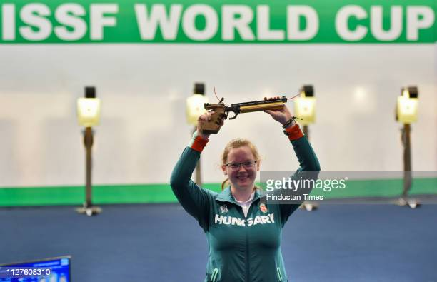 Hungarian shooter Veronika Major won the women's gold in the 10 meter air pistol women at ISSF world cup at Karni Singh Shooting Ranges on February...