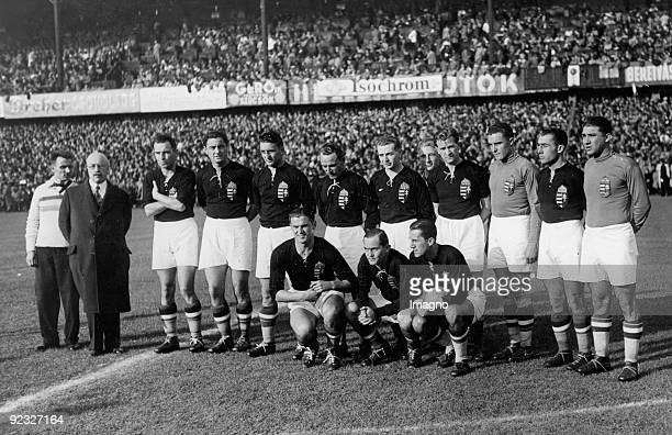 Hungarian soccer team right before the beginning of the match Photograph Around 1930