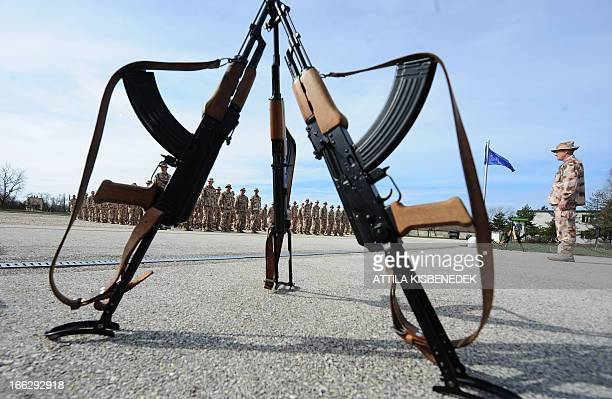 Hungarian soldiers of the last contingent of Hungary's provincial reconstruction team for Afghanistan are welcomed after their arrival at the...
