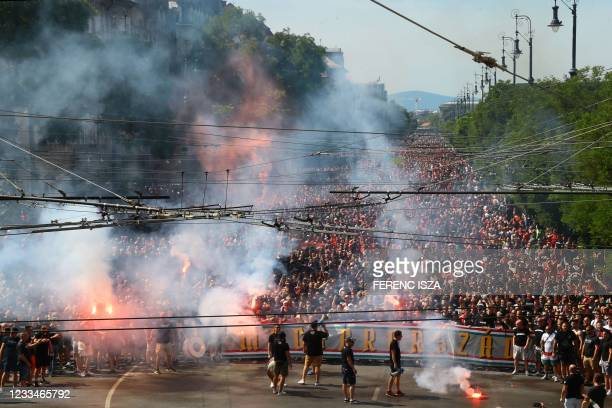 Hungarian supporters gather in the streets in Budapest downtown, Hungary on June 15 prior the UEFA EURO 2020 Group F football match Hungary against...