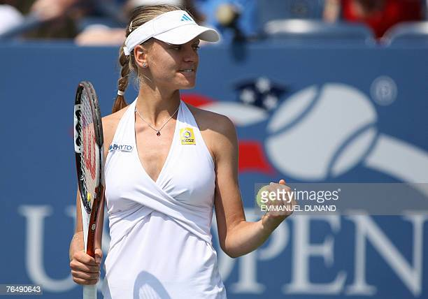Hungarian tennis player Agnes Szavay celebrates after winning matchpoint against Ukrainian player Julia Vakulenko in their Women's fourth round match...