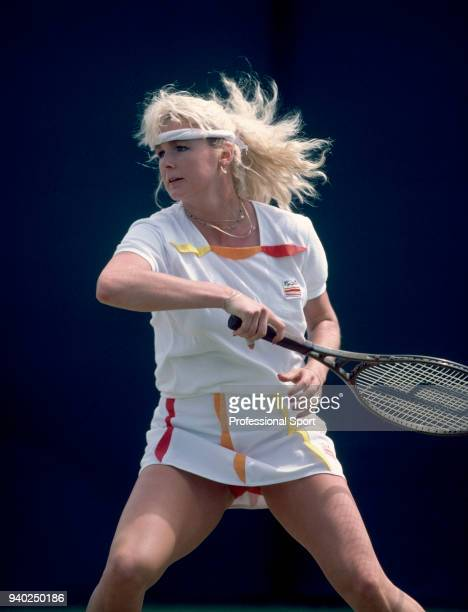 Hungarian tennis player Andrea Temesvari in action circa 1982