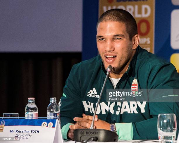 Hungarian World silver medallist Krisztian Toth answers questions at the press conference before the 2017 Suzuki World Judo Championships at the...