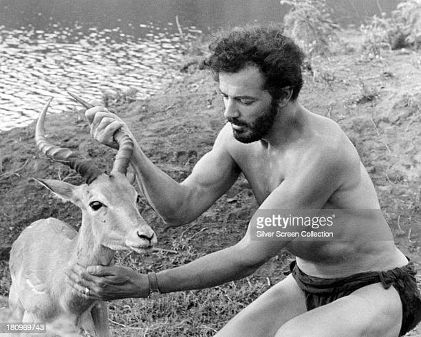 HungarianAmerican actor and film director Cornel Wilde with a kob in a publicity still for 'The Naked Prey' directed by Wilde 1966