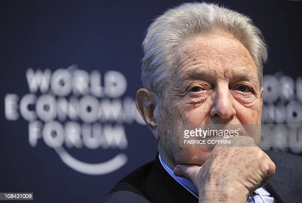 A HungarianAmerican financier George Soros looks on during a session entitled 'Redesigning the International Monetary System A Davos Debate' at the...