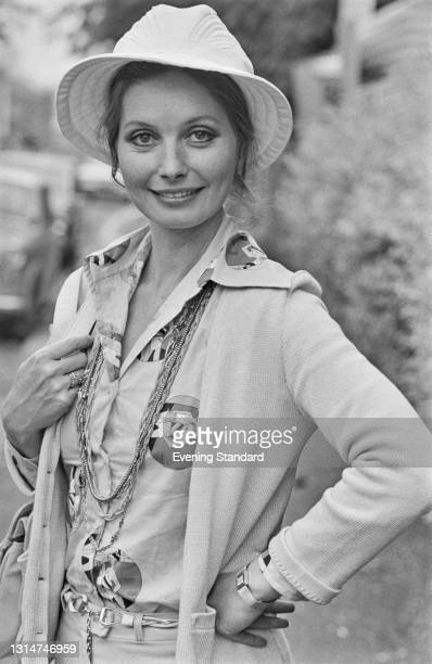 Hungarian-born actress Catherine Schell at Heathrow Airport in London, UK, 28th June 1974.