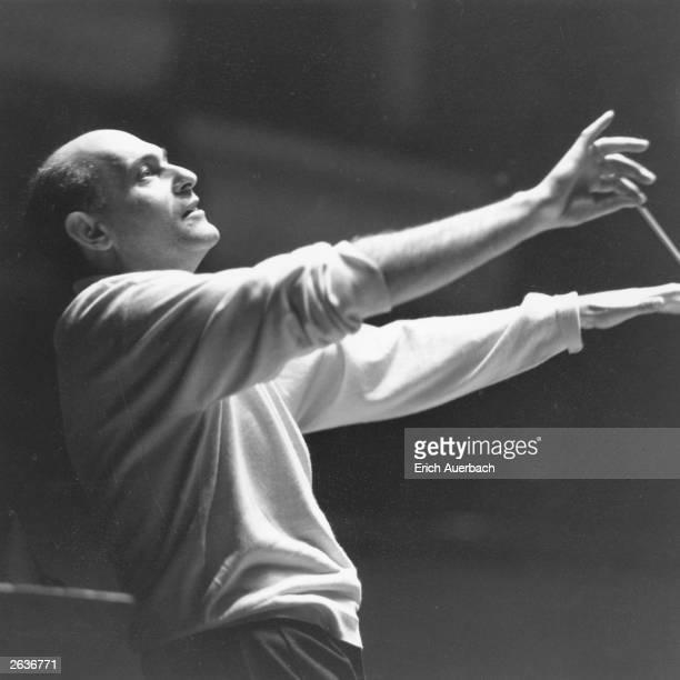Hungarian-born British conductor Sir Georg Solti .