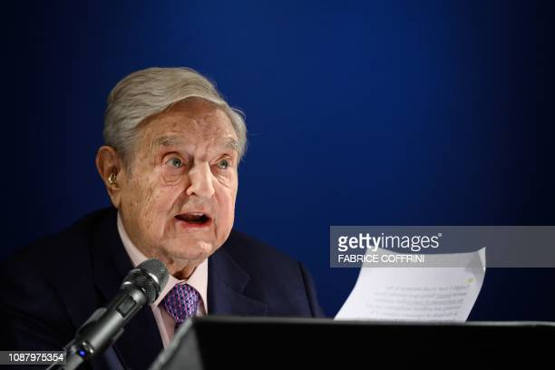 Hungarianborn US investor and philanthropist George Soros delivers a speech on the sideline of the World Economic Forum annual meeting on January 24...