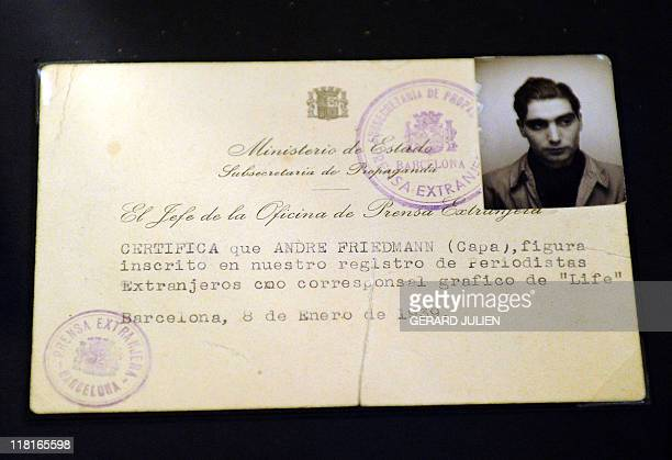 Hungarianborn US war photographer Robert Capa's press card made in Barcelona in 1939 is displayed at the exhibition 'the Mexican suitcase' in July 4...