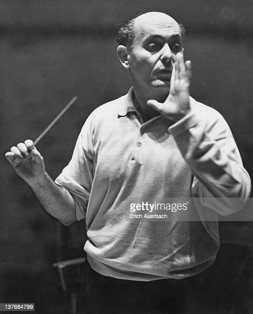 Hungarian-British orchestral and operatic conductor Georg Solti , conducting at a rehearsal, 23rd January 1963.