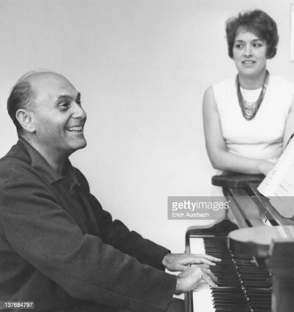 Hungarian-British orchestral and operatic conductor Georg Solti with British mezzo-soprano Josephine Veasey, 28th June 1966.