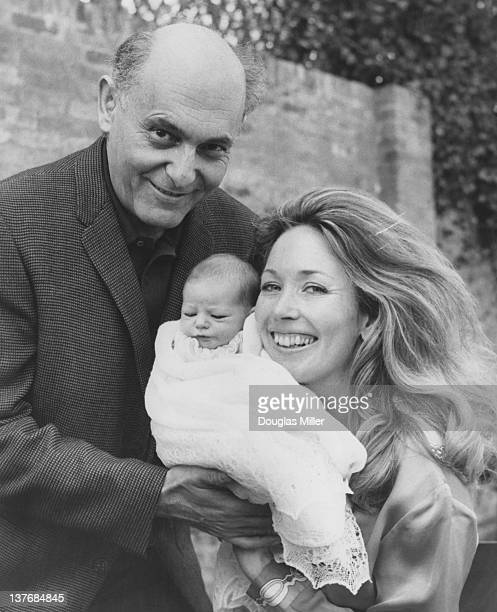 Hungarian-British orchestral and operatic conductor Georg Solti with his wife, TV presenter Valerie Pitts, and their one-week old daughter Gabrielle...