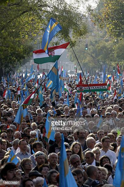 Hungarians take part in a demonstration for the autonomy of Transylvanian territory from Romania in Budapest Hungary on October 27 2013 The...