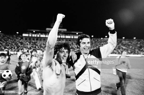 Hungary 1-3 England, Group 4 World Cup Qualifier, match at the Nepstadion, Budapest, Hungary, Saturday 6th June 1981. Kevin Keegan & Trevor Brooking.