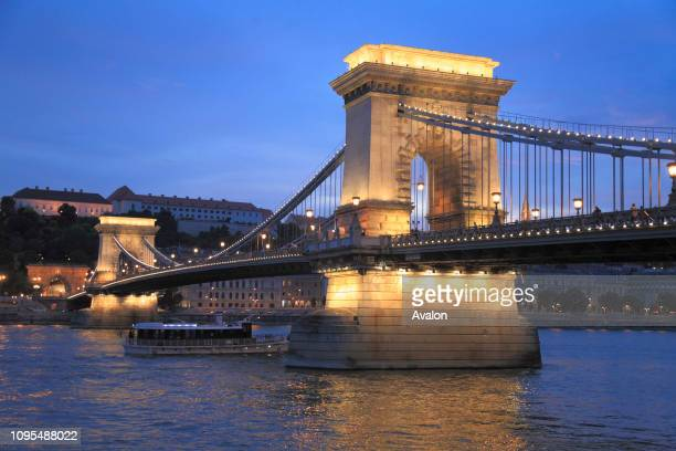 Hungary Budapest Chain Bridge Lanchid Danube River