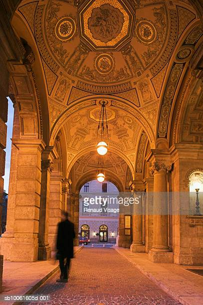Hungary, Budapest, Hungarian State Opera House, colonnade, dusk