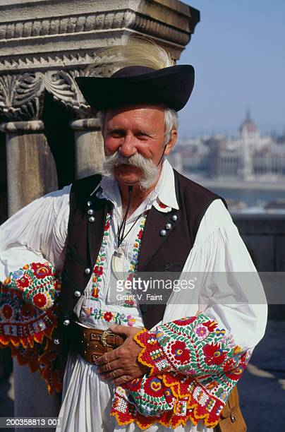 hungary, budapest, mature man, portrait - hungarian culture stock photos and pictures