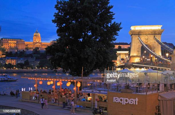 Hungary Budapest Royal Palace Chain Bridge bar pub people nightlife