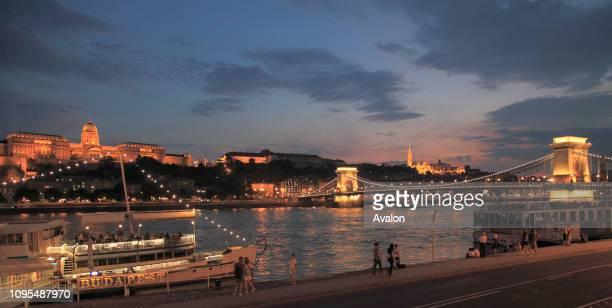 Hungary Budapest skyline Royal Palace Chain Bridge Danube River