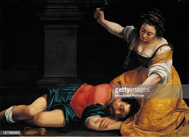 Hungary Budapest Szépmuvészeti Múzeum All Jael drives a tent peg with a hammer into Sisera's brain while the man is lying asleep Jeal wears a yellow...
