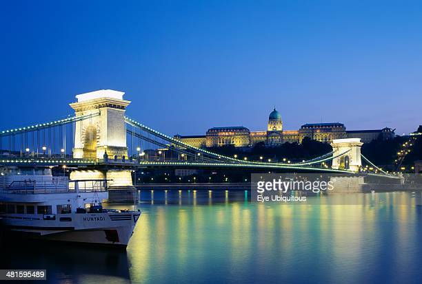 Hungary Budapest View across the River Danube and Chain Bridge at night