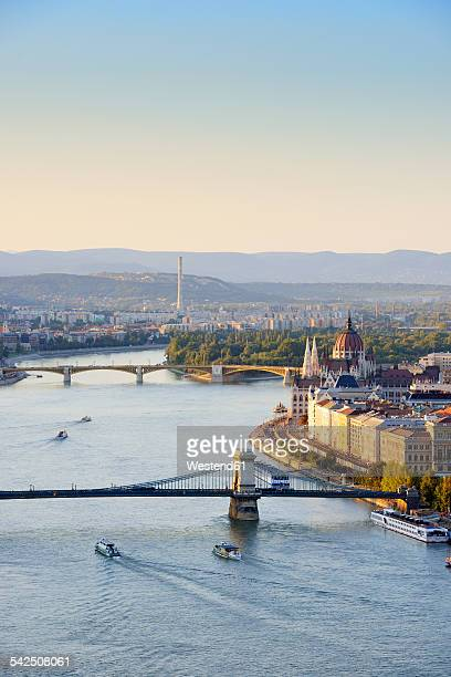Hungary, Budapest, View to River Danube, Chain Bridge and Parliament Buildung, Margaret Bridge and Margaret Island