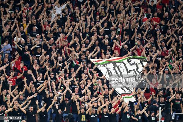 Hungary fans are seen inside the stadium prior to the 2022 FIFA World Cup Qualifier match between Hungary and England at Stadium Puskas Ferenc on...