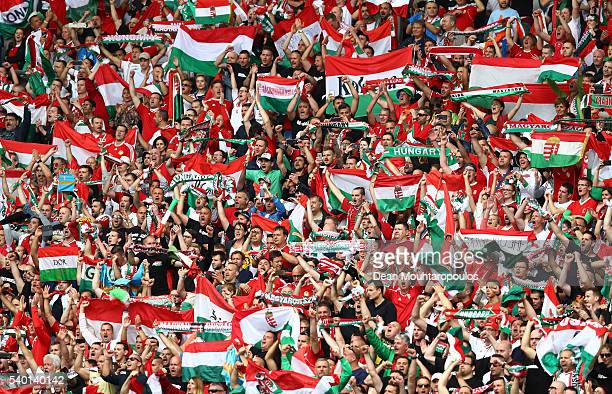Hungary fans show support prior to the UEFA EURO 2016 Group F match between Austria and Hungary at Stade Matmut Atlantique on June 14 2016 in...