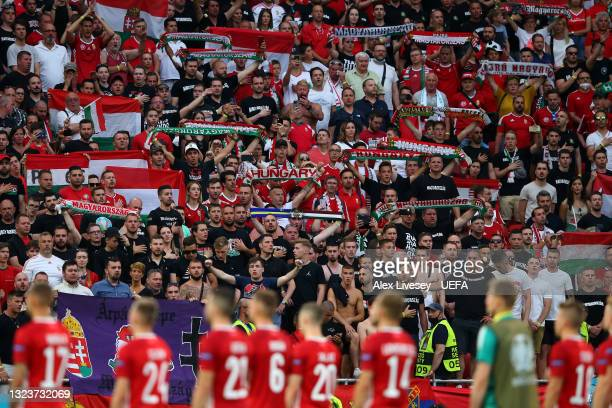 Hungary fans show their support as the players show their appreciation following defeat in the UEFA Euro 2020 Championship Group F match between...