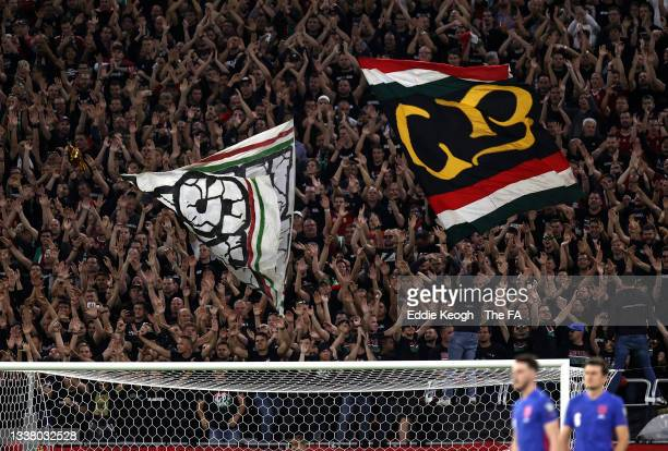 Hungary fans show their support during the 2022 FIFA World Cup Qualifier match between Hungary and England at Stadium Puskas Ferenc on September 02,...