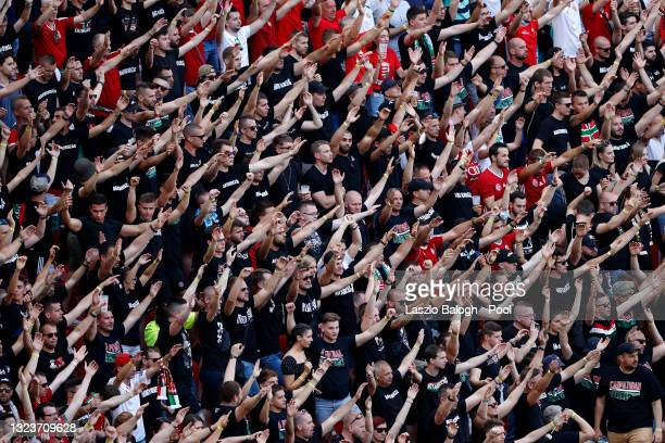 Hungary fans show their support during the UEFA Euro 2020 Championship Group F match between Hungary and Portugal at Puskas Arena on June 15, 2021 in...