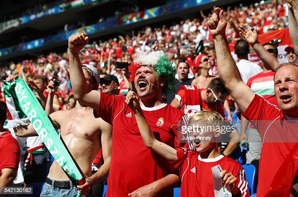 Hungary fans show their support prior to the UEFA EURO 2016 Group F match between Hungary and Portugal at Stade des Lumieres on June 22 2016 in Lyon...