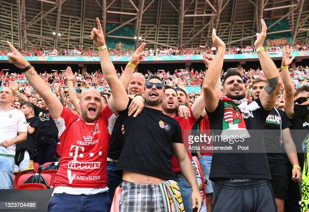 Hungary fans show their support prior to the UEFA Euro 2020 Championship Group F match between Hungary and Portugal at Puskas Arena on June 15, 2021...
