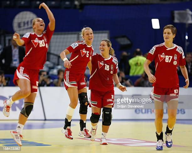 Hungary handball team celebrate victory against Serbia after the Women's European Handball Championship 2012 third place match between Hungary and...