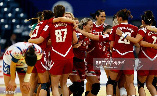 Hungary handball team celebrtate victory against Serbia after the Women's European Handball Championship 2012 third place match between Hungary and...
