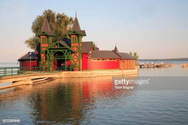 hungary, keszthely, lake balaton, beach, bathing house - hungary stock pictures, royalty-free photos & images