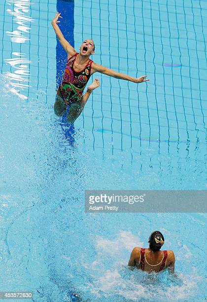 Hungary perform their routine during the Womens Team Technical Synchronised Swimming Competition at EuropaSportpark on August 13 2014 in Berlin...