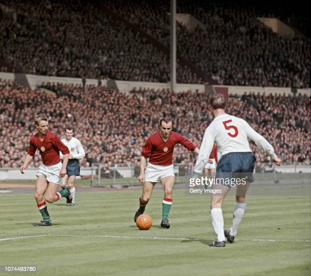 Hungary player Ferenc Bene runs at England defender Jack Charlton as Zoltan Varga of Hungary and Terry Paine of England look on during an...