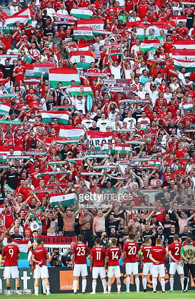 Hungary players and supporters celerbate winning the group F and going through to the knockout stage after their 33 draw in the UEFA EURO 2016 Group...