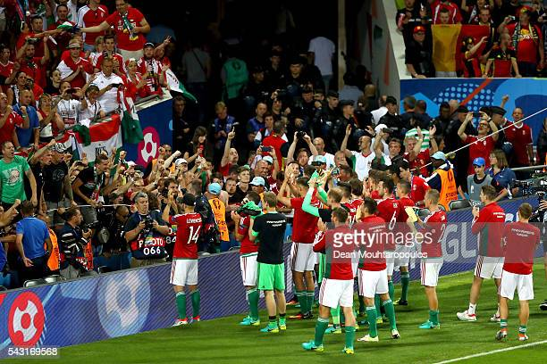Hungary players applaud the supporters after the UEFA EURO 2016 round of 16 match between Hungary and Belgium at Stadium Municipal on June 26 2016 in...