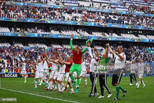 Hungary players celebrate after the full time whistle during the UEFA EURO 2016 Group F match between Iceland and Hungary at Stade Velodrome on June...