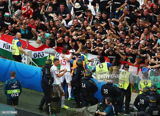 Hungary players celebrate with fans as Birkir Saevarsson of Iceland scores an own goal for their first goal during the UEFA EURO 2016 Group F match...