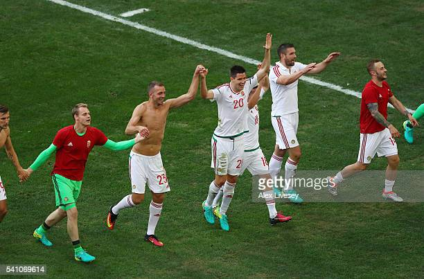 Hungary players celebrate with supporters after the full time whistle during the UEFA EURO 2016 Group F match between Iceland and Hungary at Stade...